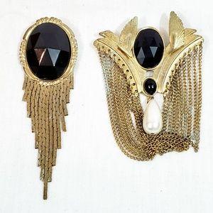 2 Piece Lot Art Deco Drop Brooch Gold & Black Vtg
